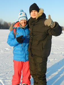 With Miguel at Tuomijojärvi (lake)
