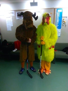 Getting ready for the big performance. Moose (left) and ESN Finland Hen